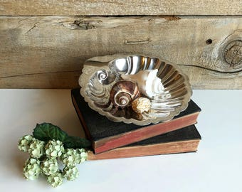Silver on copper scalloped shell shape dish. Belco silverplated dish.