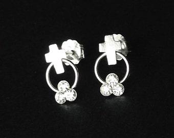 925 Solid Sterling Silver  TRINITY CROSS Earrings / Christian Jewelry/ Catholic Jewelry/ Religious Jewelry- Small- Oxidized- Studs