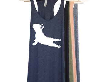 French Bulldog Yoga Pose Tank Top - Down Dog Shirt - Namastay in Bed Shirt - Namaste Yoga