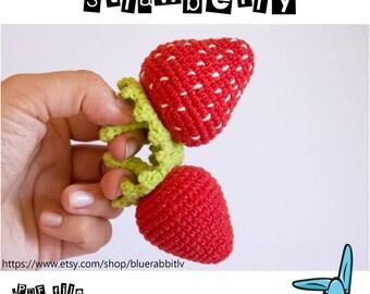 Strawberry - amigurumi crochet pattern. 2 sizes. Languages:  English, Danish, Norwegian, Spanish, French.