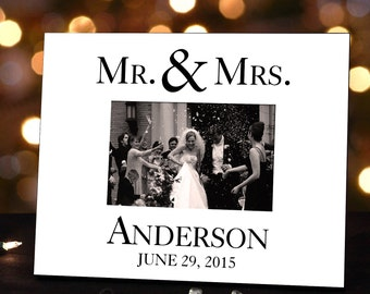 Personalized Wedding Photo Frame for Couples : Black and White Design with Name and Wedding Date