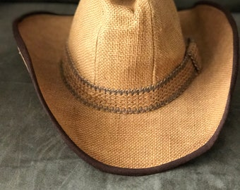 Vintage Cowgirl Hat, Cowgirl Hat, Boho Cowgirl Hat, Burlap Cowgirl Hat