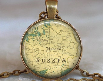 Russia map necklace, Russia necklace, Russia map pendant, Soviet Union USSR pendant, Moscow map jewelry Russian key chain key ring key fob