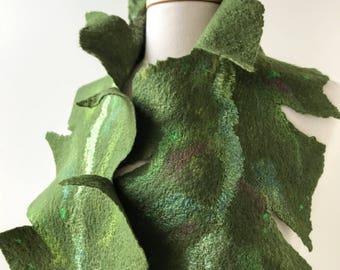 Fiber Art Scarf in Green, Hand Felted, Merino Wool, Silk, Neckwarmer, Wrap,Nature Inspired, Gift for Her, Fashion, Unique, Natural