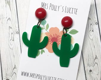 Hola Mexico Earrings  - Celluloid inspired - Fakelite - 1950s