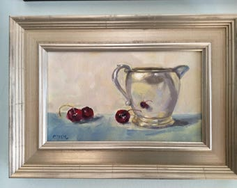 Silver Pitcher and Cherries