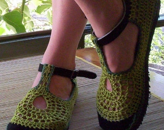 Mary Jane crochet SHOES - Apple Green - CUSTOM MADE -