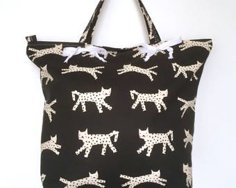 Cat Tie Tote Bag, Black and White Tote, Animal Print, Shopping Tote, Beach Bag