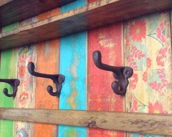 FREE SHIPPING / Entryway Wood Wall Shelf with Hooks / Rustic Rainbow Coat Rack / Reclaimed Wood Shelves / Cast Iron Coat Hooks / Bohemian De