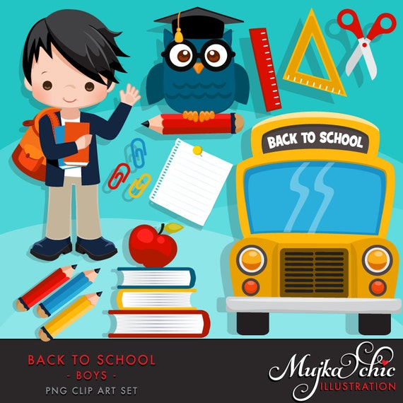 Back to school Clipart. Cute students school bus school