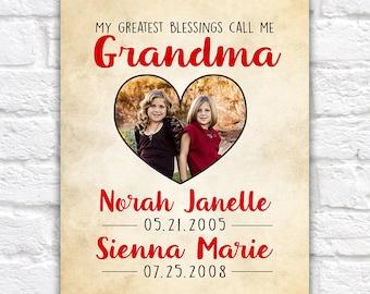 Gift for Grandma, Grandmothers Day, Birthday Gift for Grandma, Granddaughters, Mom, Mother in Law, Grandchildren Photo Heart   WF507