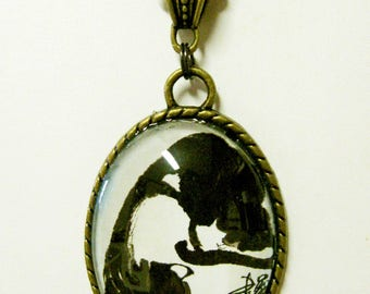 Black and white cat pendant with chain - CAP09-027