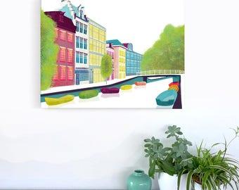 Amsterdam Canal Print Bloemgracht, Skyline Framed Canvas Wall Art Print, Canal Boats, Ready to hang, Home decor, Travel Art Gift, MCAB1