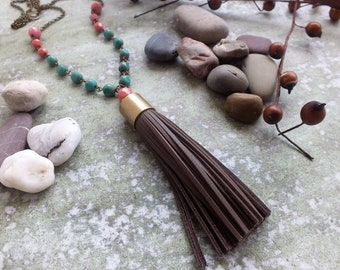 Tassel Necklace Leather tassel necklace Long turquoise bead necklace Tribal Necklace Boho Glam Necklace  Boho beaded necklace