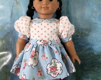 18 inch Doll Clothes American Girl - Blue Print Dress with Panties