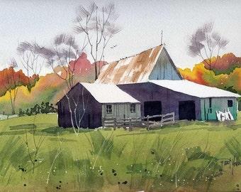 Barn in Fall-Print of an original watercolor painting