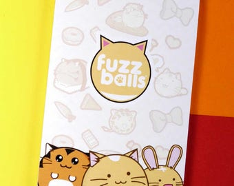 Fuzzballs Memo Pad Planner Kawaii Stationery diary Cute Japanese Fuzzballs Notepad note book Idea School A7 Cuteness Stocking Stuffer