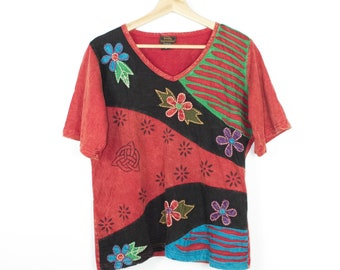 new patchwork floral shirt - nwt - handmade in nepal - hippie - embroidered - embroidery