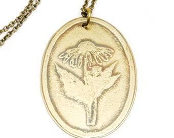 Wildflower Pendant } {Hand drawn echinacea} {etched brass}  {Hand cut/fabricated} {Coneflower}  {Forage Collection}