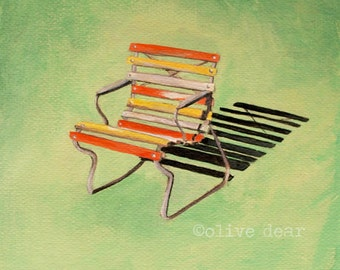 Garden chair - fine art pigment print of an original painting by Olive Dear, on quality heavy weight edition paper