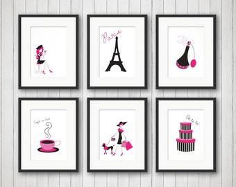 Paris Decor - Teen Room Decor - Fashion Print - Fashion Art - Girls Room - Girls Fashion - Girls Room Decor - Bedroom Art - Set of 6