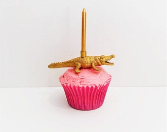 Gold Crocodile Candle Holder Cake Topper / Aussie Animal Birthday Party Decor / Party Supplies / Animal Party Decor / Cupcake Decorations