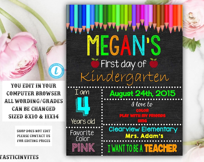 First Day of School Sign, Back to School, Printable Chalkboard Poster, First day of Kindergarten Sign, Boy, Girl, Sibling, Instant Download