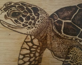 Wood Burned Sea Turtle Pyrography Woodburning Wall Plaque Sign