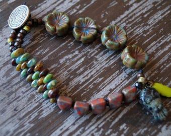 Unlisted - Ethnic Woven Bracelet - Orange and Blue Bracelet - Boho Bracelet - Tile Bracelet - Bead Soup Jewelry - Rustic Earthy Boho