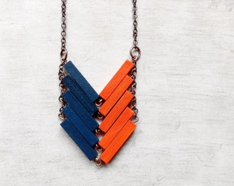 Wood Chevron Necklace // SIDNEY // Minimal Jewelry // Orange // Blue // Hand-Painted Necklace // Modern Necklaces // Chevron Necklace