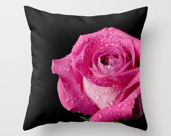 Floral Cushion Case, Hot Pink Rose Throw Pillow Cover, English Country Charm Home Decor, Romantic Bedroom Accent, Valentine's Day Gift