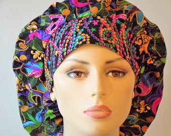 Mardi Gras Mask and Beads Headband Bouffant Scrub Hats -Holiday Scrub Hats-Mardi Gras Scrub Hats-Scrub Caps-Handcrafted-Womens Scrub Hats
