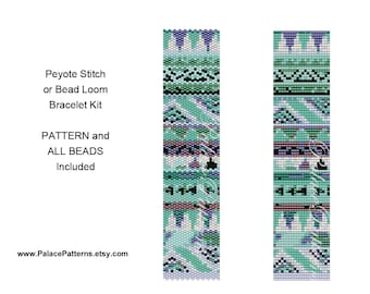 Bracelet KIT for Bead Loom or Peyote Stitch - Delica Bracelet Bead Weaving Kit P20- Includes Pattern and Beads - Tribal6