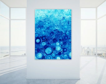 Extra Large Digital Print, Blue Abstract Wall Art, Large Scale Printable, Modern Beach House Decor, Abstract Water Print, Ocean Coastal Home