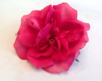 Pink Rose Bridal Flower Hair Pin Wedding Hair Accessory Fuchsia Rose Hair Pin Rose Bridal Hair Pin Pink Fuchsia Rose Prom Hair Pin - Large