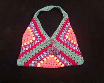 Red shoulder crochet beach bag.