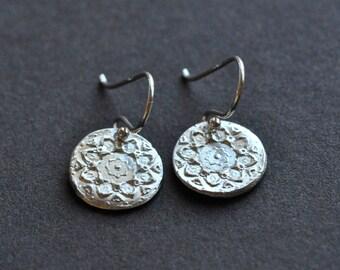 Mandala Earrings - Sterling Silver Mandala Earrings - Ecofriendly Recycled Silver - Fine Silver - Artisanal Jewellery