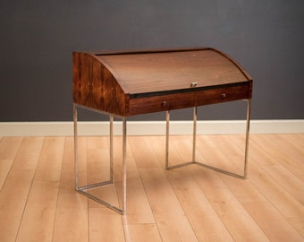 Vintage Chrome and Rosewood Tambour Roll Top Desk