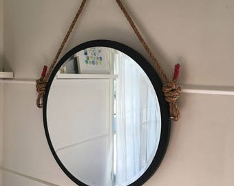 "Saved for Jason. 24"" Round White Rope Mirror. Nautical Mirror. Modern. Vinyl Leather Mirror. Hanging Mirror. Modern Home Decor."