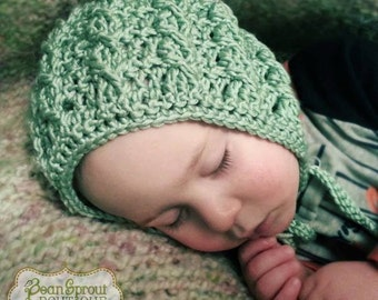 Crochet Pattern for Cable Cross Baby Bonnet Hat - 5 sizes, newborn to toddler - Welcome to sell finished items