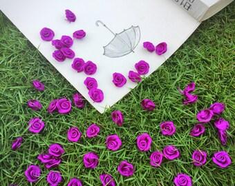 Purple Satin Roses (25pcs/ 50 pcs),Tiny Rolled Rose Buds, Sewing Roses,Craft Roses, Purple Fabric Flowers,Miniature Roses,Ribbon Rose
