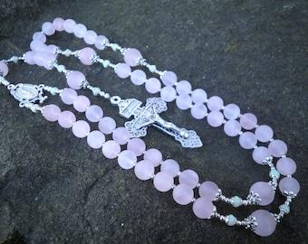 Classic Rosary - Rose Quartz (Matte) with Opal