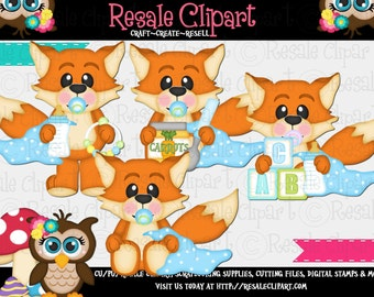 Baby Boy Foxes 1 Clipart (Digital File Download)
