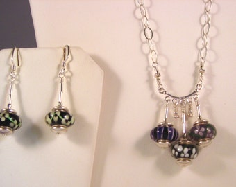 """Sterling Silver with Glass Beads Jewelry Set - Approx 23"""" Necklace - Approx 2"""" Earrings"""