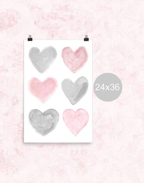 Pink and Gray Nursery Print, 24x36