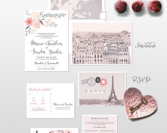 Destination wedding invitation set Paris France Parisian Wedding Invitation Suite European wedding - Illustrated invitation -Deposit Payment