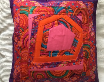 Handmade Patchwork and quilted cushion cover using Kaffe Fassett fabric