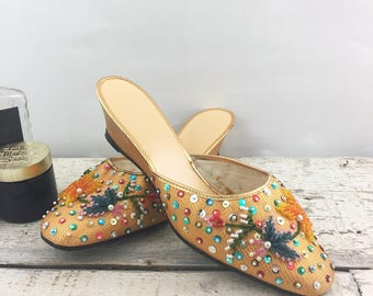 Beautiful Vintage Gold Beaded and Sequined Wedge Slip Ons