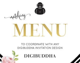 "Menu 5x7"" CUSTOM Coordinating Menu Design Made to Match any digibuddha Invitation Wedding Menu Shower Menu Party Menu"