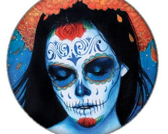 25mm cabochon blue calavera